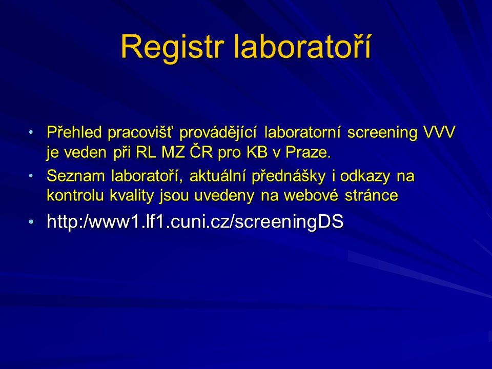 Registr laboratoří Přehled pracovišť provádějící laboratorní screening VVV je veden při RL MZ ČR pro KB v Praze.