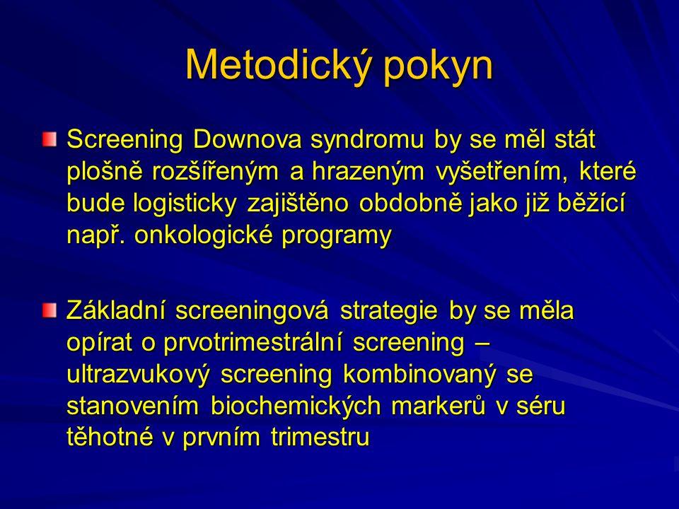 Metodický pokyn Screening Downova syndromu by se měl stát plošně rozšířeným a hrazeným vyšetřením, které bude logisticky zajištěno obdobně jako již běžící např.