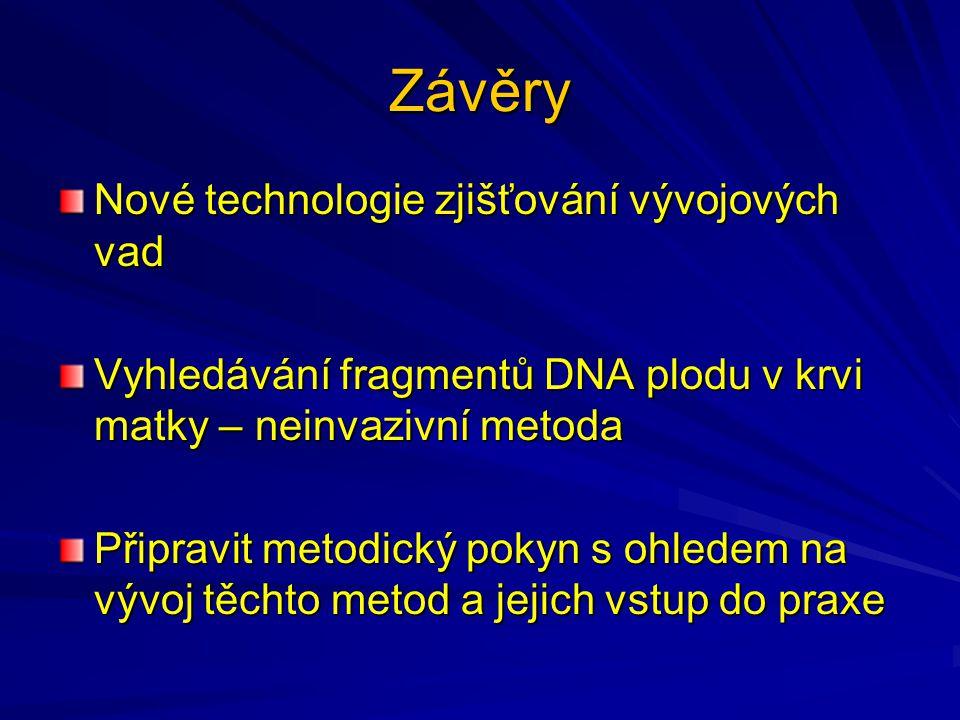 Závěry Nové technologie zjišťování vývojových vad Vyhledávání fragmentů DNA plodu v krvi matky – neinvazivní metoda Připravit metodický pokyn s ohledem na vývoj těchto metod a jejich vstup do praxe