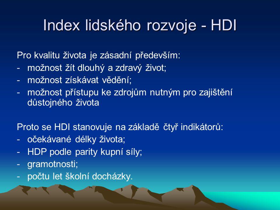 Index lidského rozvoje - HDI Pro kvalitu života je zásadní především: -možnost žít dlouhý a zdravý život; -možnost získávat vědění; -možnost přístupu