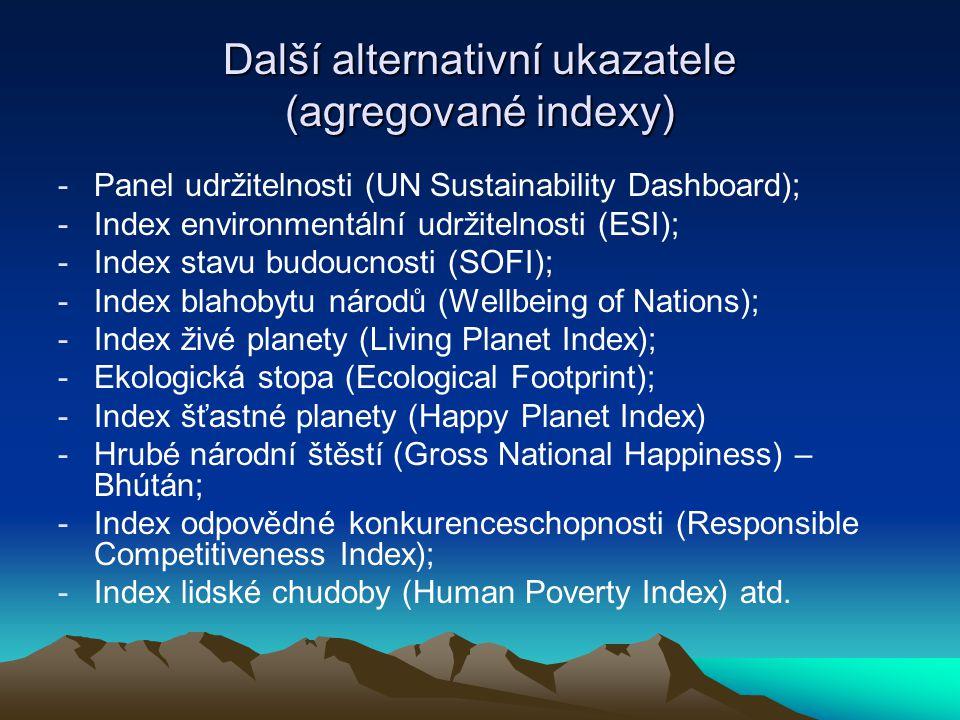Další alternativní ukazatele (agregované indexy) -Panel udržitelnosti (UN Sustainability Dashboard); -Index environmentální udržitelnosti (ESI); -Inde