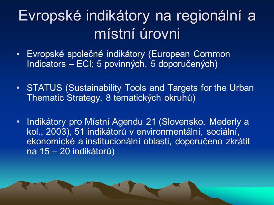 Evropské indikátory na regionální a místní úrovni Evropské společné indikátory (European Common Indicators – ECI; 5 povinných, 5 doporučených) STATUS