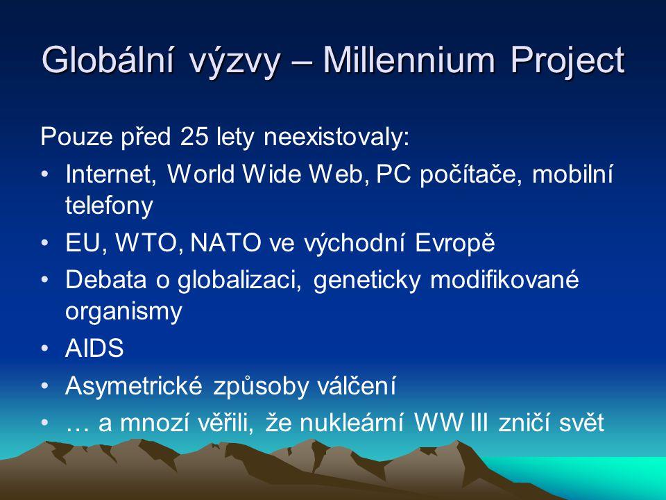 Globální výzvy – Millennium Project Pouze před 25 lety neexistovaly: Internet, World Wide Web, PC počítače, mobilní telefony EU, WTO, NATO ve východní