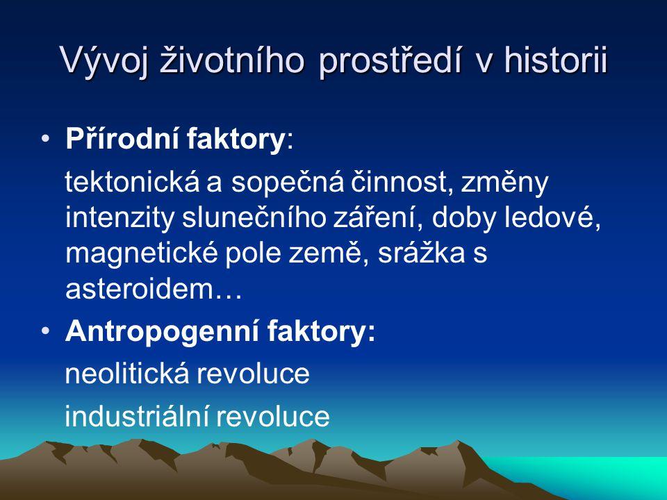 Vývoj životního prostředí v historii Přírodní faktory: tektonická a sopečná činnost, změny intenzity slunečního záření, doby ledové, magnetické pole z