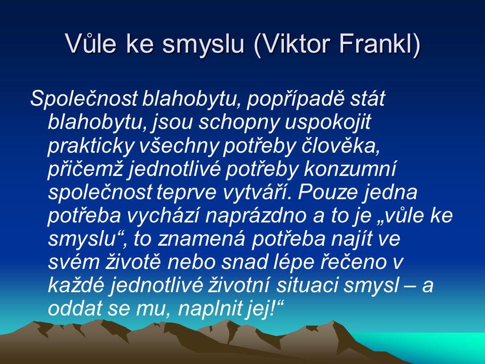 Vůle ke smyslu (Viktor Frankl) Společnost blahobytu, popřípadě stát blahobytu, jsou schopny uspokojit prakticky všechny potřeby člověka, přičemž jedno