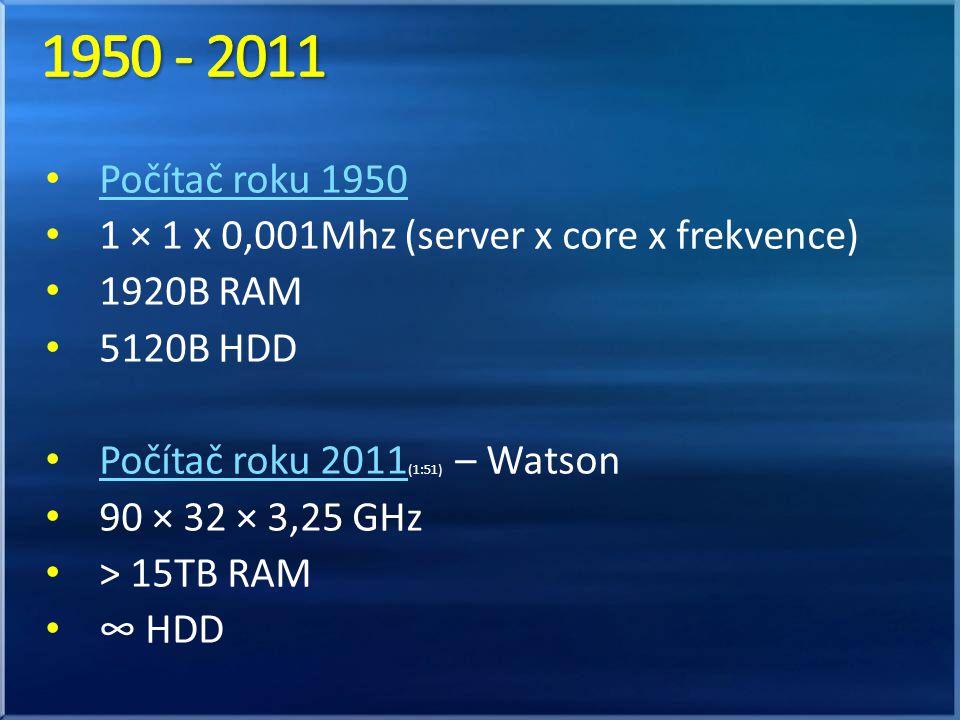 Počítač roku 1950 1 × 1 x 0,001Mhz (server x core x frekvence) 1920B RAM 5120B HDD Počítač roku 2011 (1:51) – Watson Počítač roku 2011 90 × 32 × 3,25 GHz > 15TB RAM ∞ HDD