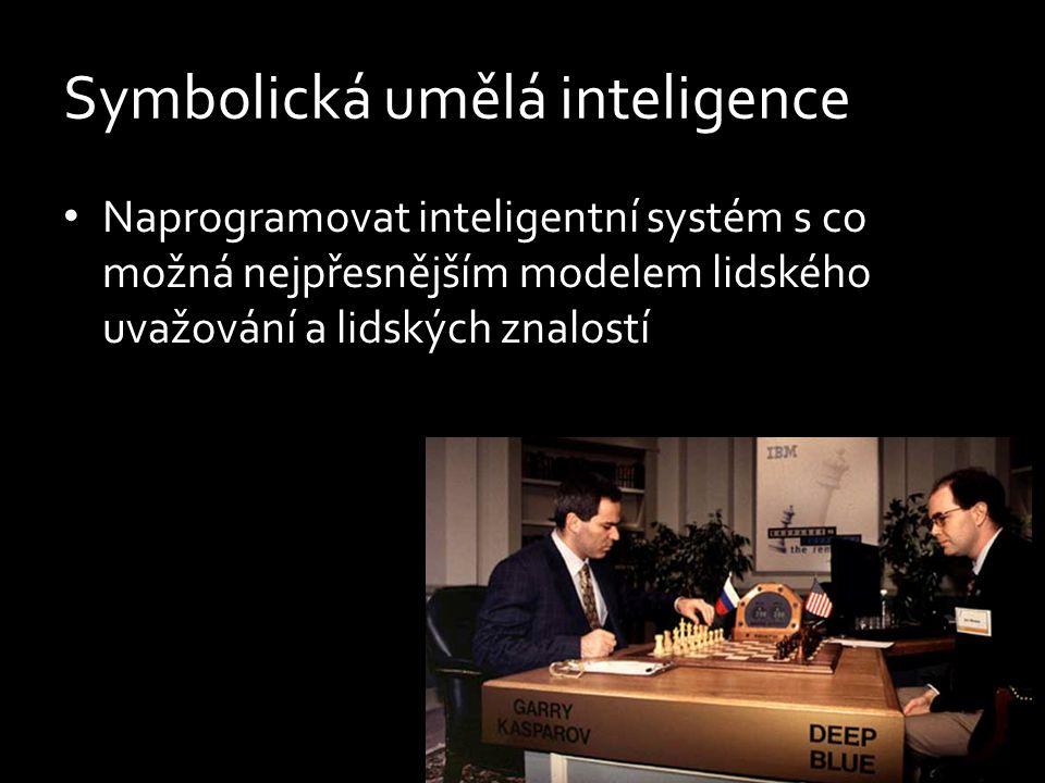 Symbolická umělá inteligence Naprogramovat inteligentní systém s co možná nejpřesnějším modelem lidského uvažování a lidských znalostí