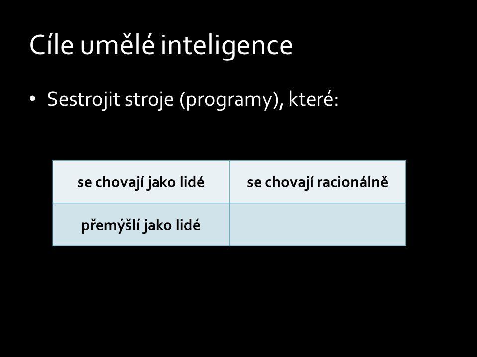 Cíle umělé inteligence Sestrojit stroje (programy), které: se chovají jako lidése chovají racionálně přemýšlí jako lidépřemýšlí racionálně