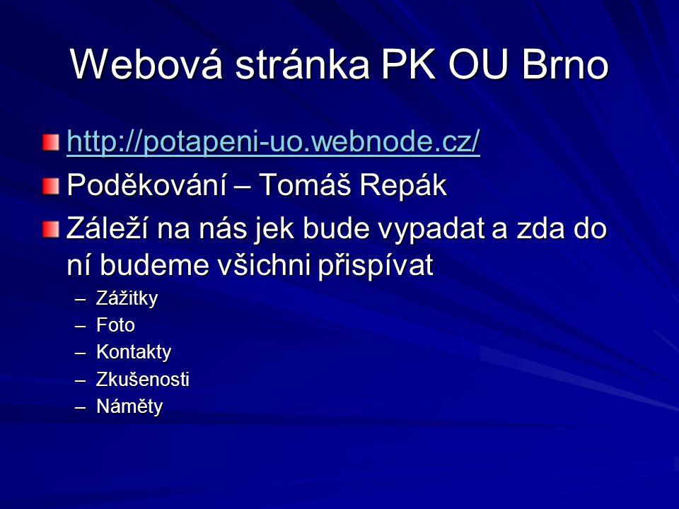 Webová stránka PK OU Brno http://potapeni-uo.webnode.cz/ Poděkování – Tomáš Repák Záleží na nás jek bude vypadat a zda do ní budeme všichni přispívat
