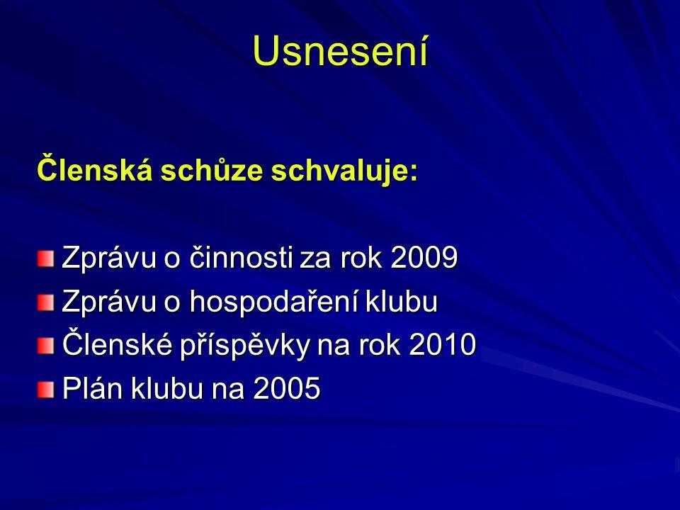 Usnesení Členská schůze schvaluje: Zprávu o činnosti za rok 2009 Zprávu o hospodaření klubu Členské příspěvky na rok 2010 Plán klubu na 2005
