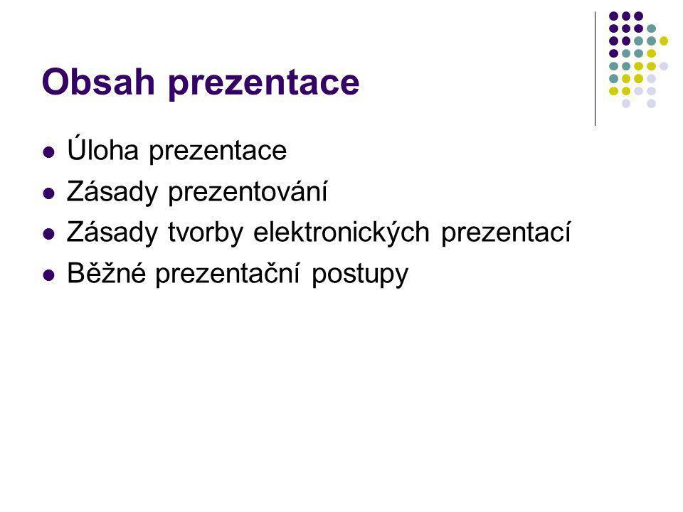 Obsah prezentace Úloha prezentace Zásady prezentování Zásady tvorby elektronických prezentací Běžné prezentační postupy