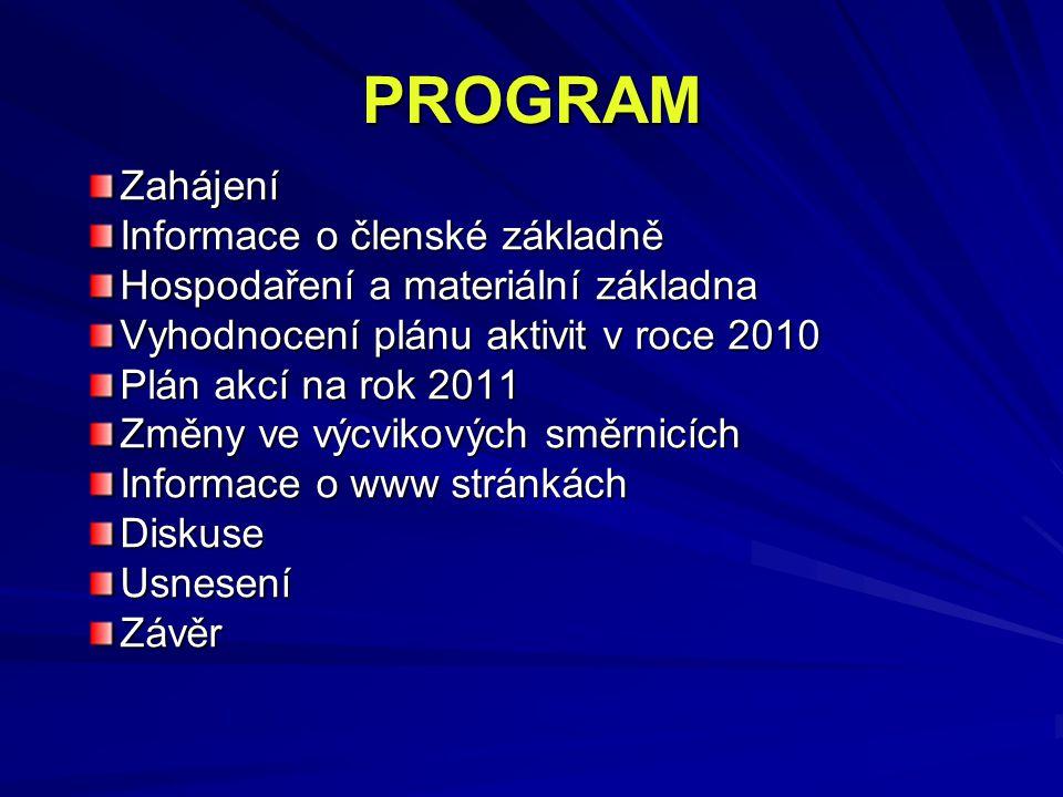 PROGRAM Zahájení Informace o členské základně Hospodaření a materiální základna Vyhodnocení plánu aktivit v roce 2010 Plán akcí na rok 2011 Změny ve výcvikových směrnicích Informace o www stránkách DiskuseUsneseníZávěr