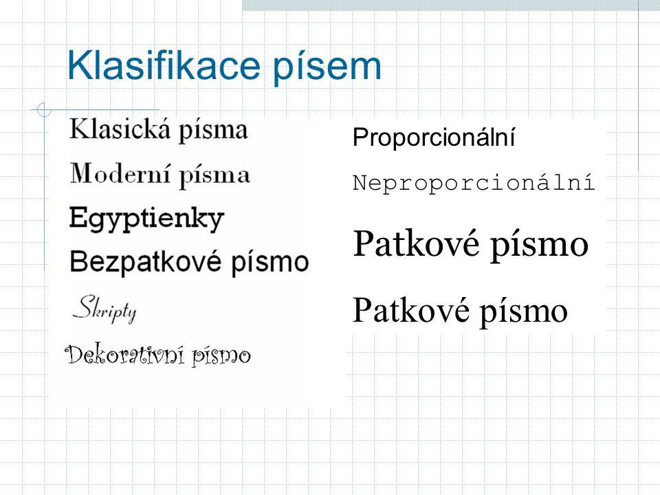 Typografická pravidla I » v dokumentu maximálně tři typy písma - fontů » pokud jsou písma z různých skupin musí se výrazně lišit » celkový počet řezů 6 – 8 » velikost » ne více než 3 velikosti jednoho písma » zřetelně odlišené » 4 – 5 velikostí v jedné sazbě » nejmenší velikost písma 7 bodů – od velikosti 12 bodů používat pouze sudé velikosti písem; » čím delší text, tím čitelnější písmo » patková písma s jednodušší kresbou (Times, Bookman) » bezpatková - lépe čitelná (letáky, titulky, nadpisy)