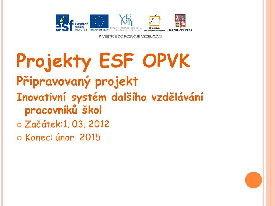 Projekty ESF OPVK Připravovaný projekt Inovativní systém dalšího vzdělávání pracovníků škol Začátek:1. 03. 2012 Konec: únor 2015