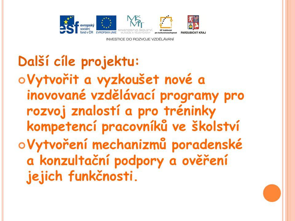 Další cíle projektu: Vytvořit a vyzkoušet nové a inovované vzdělávací programy pro rozvoj znalostí a pro tréninky kompetencí pracovníků ve školství Vy