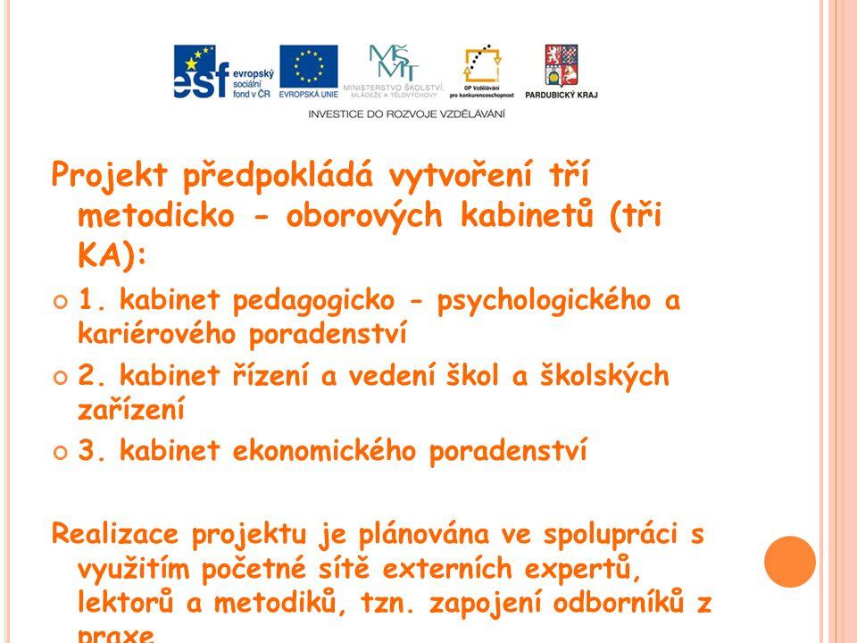 Projekt předpokládá vytvoření tří metodicko - oborových kabinetů (tři KA): 1. kabinet pedagogicko - psychologického a kariérového poradenství 2. kabin