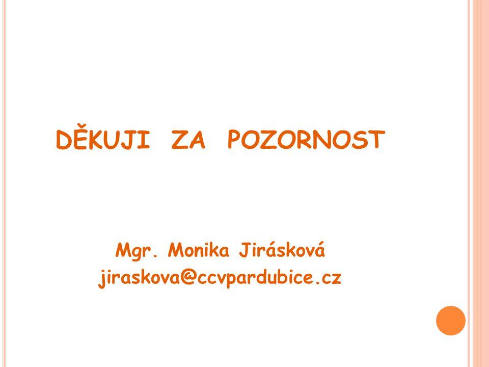 DĚKUJI ZA POZORNOST Mgr. Monika Jirásková jiraskova@ccvpardubice.cz