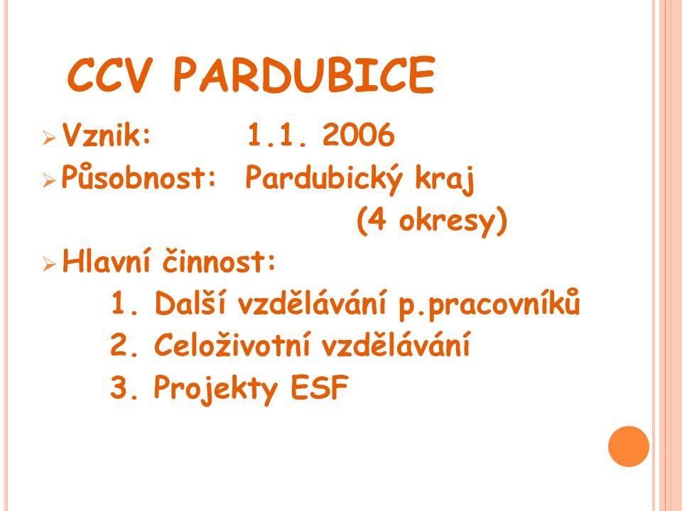 CCV PARDUBICE  Vznik:1.1. 2006  Působnost:Pardubický kraj (4 okresy)  Hlavní činnost: 1. Další vzdělávání p.pracovníků 2. Celoživotní vzdělávání 3.