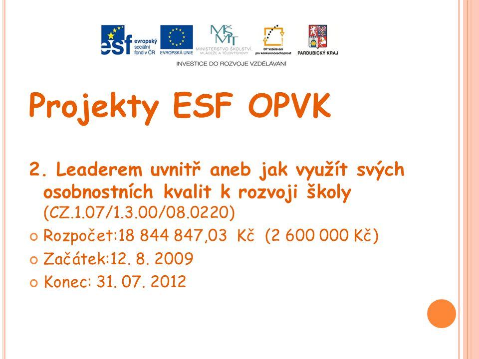 Projekty ESF OPVK 2. Leaderem uvnitř aneb jak využít svých osobnostních kvalit k rozvoji školy (CZ.1.07/1.3.00/08.0220) Rozpočet:18 844 847,03 Kč (2 6