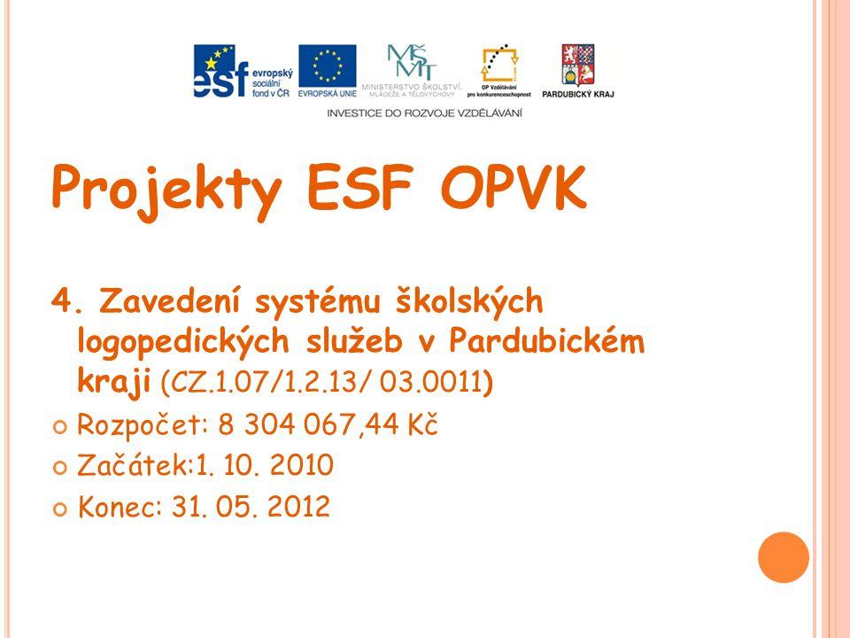 Projekty ESF OPVK 4. Zavedení systému školských logopedických služeb v Pardubickém kraji (CZ.1.07/1.2.13/ 03.0011) Rozpočet: 8 304 067,44 Kč Začátek:1