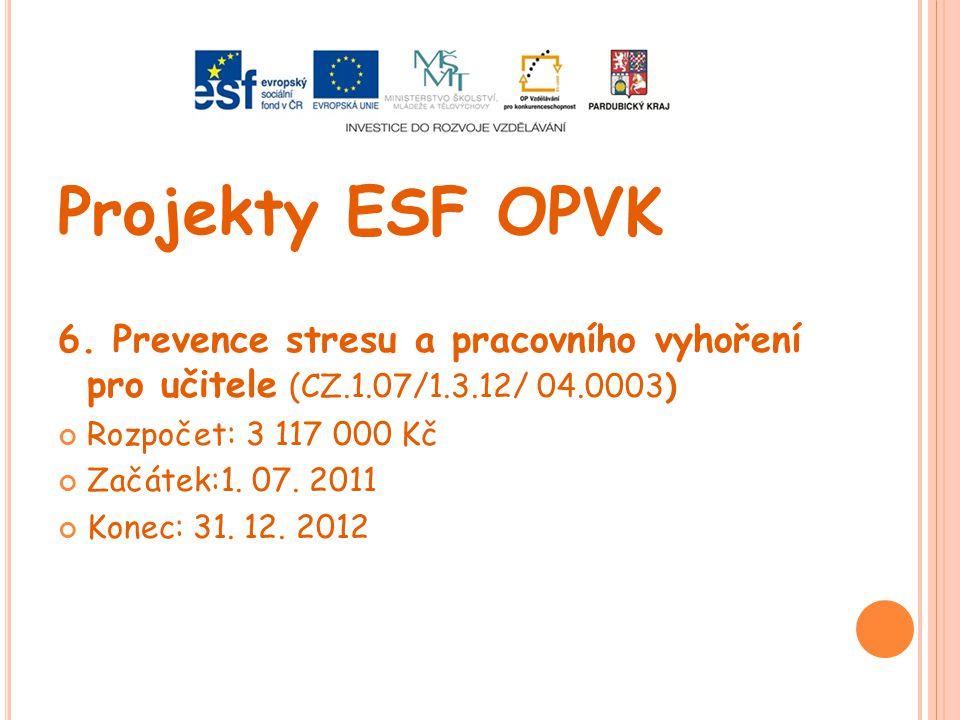 Projekty ESF OPVK 6. Prevence stresu a pracovního vyhoření pro učitele (CZ.1.07/1.3.12/ 04.0003) Rozpočet: 3 117 000 Kč Začátek:1. 07. 2011 Konec: 31.