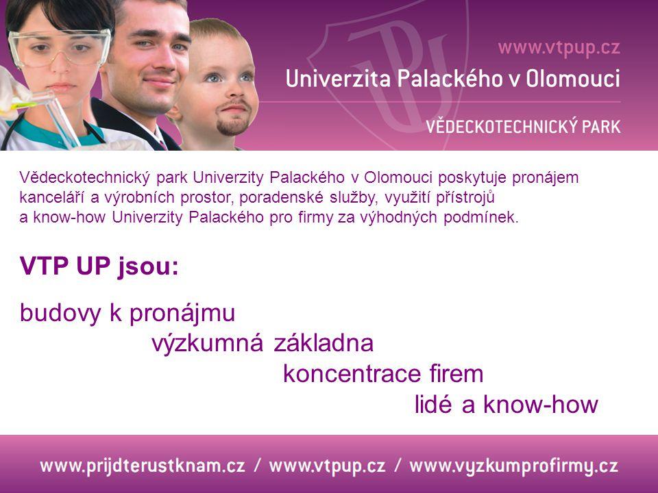 VTP UP jsou: budovy k pronájmu výzkumná základna koncentrace firem lidé a know-how Vědeckotechnický park Univerzity Palackého v Olomouci poskytuje pronájem kanceláří a výrobních prostor, poradenské služby, využití přístrojů a know-how Univerzity Palackého pro firmy za výhodných podmínek.