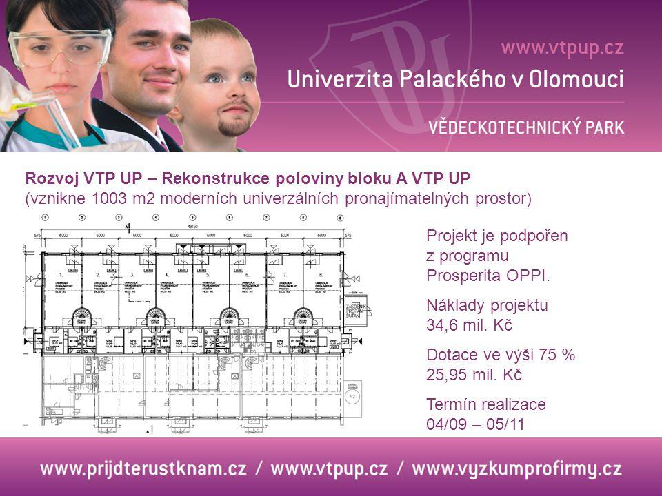 Rozvoj VTP UP – Rekonstrukce poloviny bloku A VTP UP (vznikne 1003 m2 moderních univerzálních pronajímatelných prostor) Projekt je podpořen z programu Prosperita OPPI.