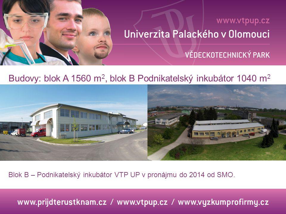 Budovy: blok A 1560 m 2, blok B Podnikatelský inkubátor 1040 m 2 Blok B – Podnikatelský inkubátor VTP UP v pronájmu do 2014 od SMO.