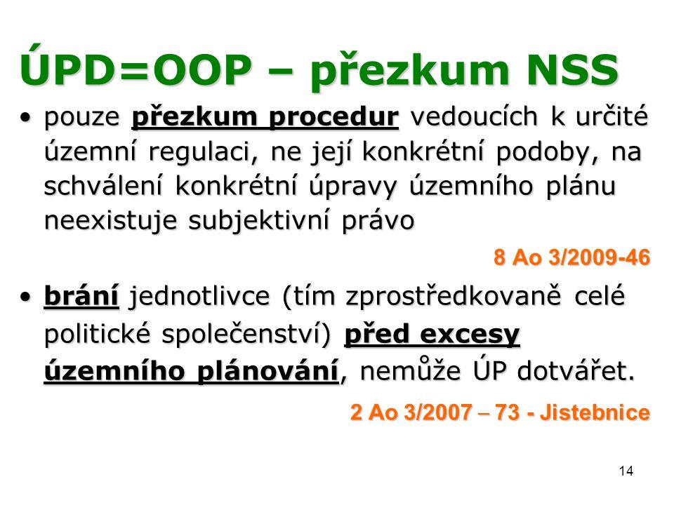 14 ÚPD=OOP – přezkum NSS pouze přezkum procedur vedoucích k určité územní regulaci, ne její konkrétní podoby, na schválení konkrétní úpravy územního plánu neexistuje subjektivní právopouze přezkum procedur vedoucích k určité územní regulaci, ne její konkrétní podoby, na schválení konkrétní úpravy územního plánu neexistuje subjektivní právo 8 Ao 3/2009-46 brání jednotlivce (tím zprostředkovaně celé politické společenství) před excesy územního plánování, nemůže ÚP dotvářet.brání jednotlivce (tím zprostředkovaně celé politické společenství) před excesy územního plánování, nemůže ÚP dotvářet.