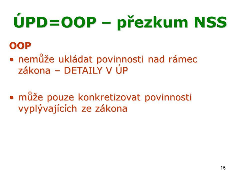 15 ÚPD=OOP – přezkum NSS OOP nemůže ukládat povinnosti nad rámec zákona – DETAILY V ÚPnemůže ukládat povinnosti nad rámec zákona – DETAILY V ÚP může p