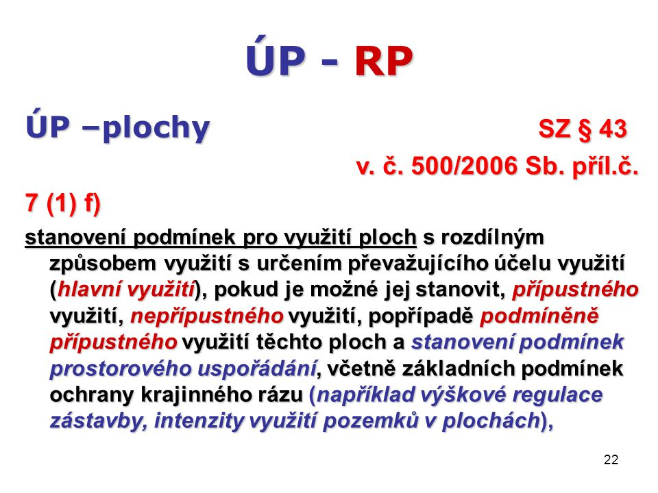 22 ÚP - RP ÚP –plochy SZ § 43 v. č. 500/2006 Sb. příl.č. 7 (1) f) stanovení podmínek pro využití ploch s rozdílným způsobem využití s určením převažuj