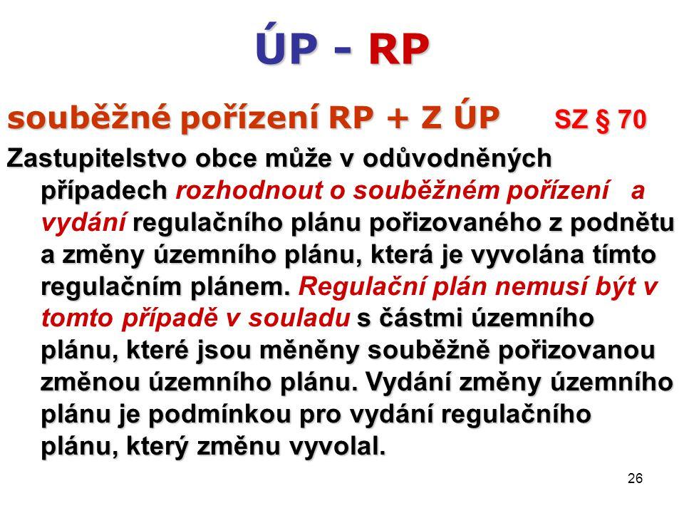 26 ÚP - RP souběžné pořízení RP + Z ÚP SZ § 70 Zastupitelstvo obce může v odůvodněných případech regulačního plánu pořizovaného z podnětu a změny územního plánu, která je vyvolána tímto regulačním plánem.