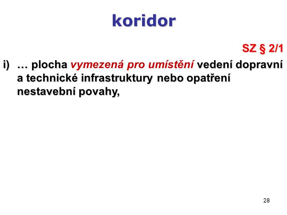28 koridor SZ § 2/1 i)… plocha vedení dopravní a technické infrastruktury nebo opatření nestavební povahy, i)… plocha vymezená pro umístění vedení dop
