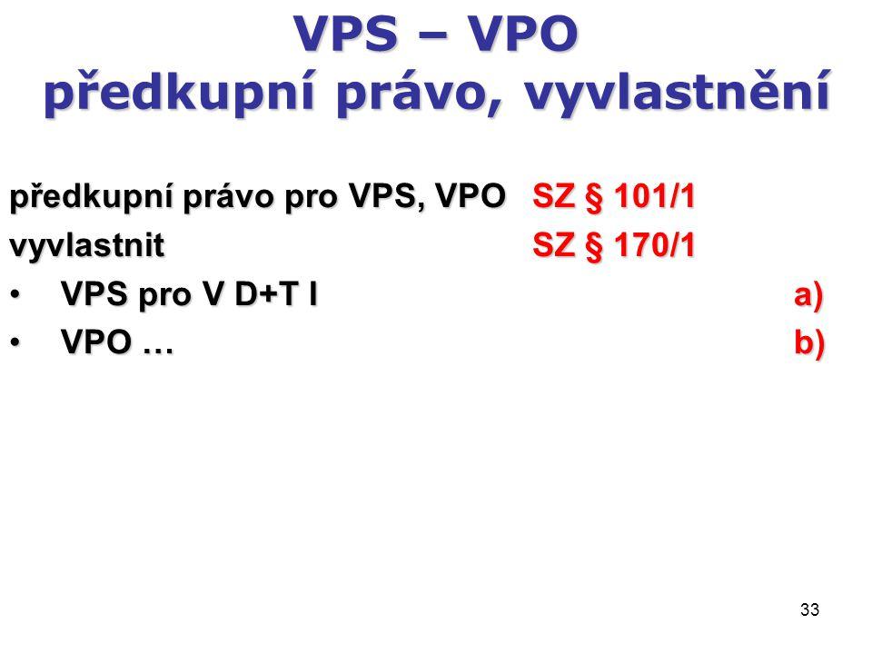 33 VPS – VPO předkupní právo, vyvlastnění předkupní právo pro VPS, VPO SZ § 101/1 vyvlastnit SZ § 170/1 VPS pro V D+T I a) VPS pro V D+T I a) VPO … b)