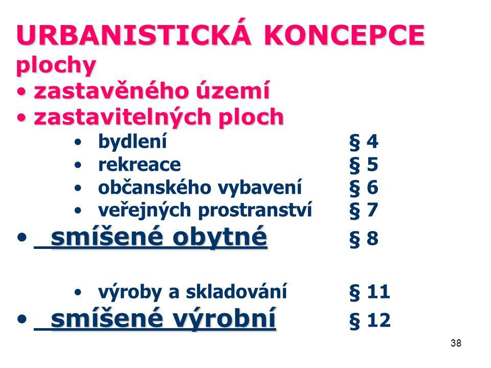 38 URBANISTICKÁ KONCEPCE plochy zastavěného územízastavěného území zastavitelných plochzastavitelných ploch bydlení§ 4 rekreace§ 5 občanského vybavení§ 6 veřejných prostranství§ 7 smíšené obytné smíšené obytné § 8 výroby a skladování§ 11 smíšené výrobní smíšené výrobní § 12
