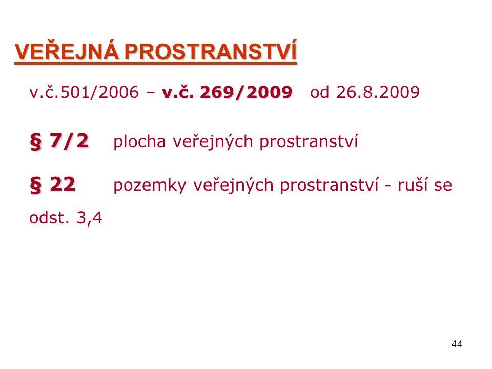 44 VEŘEJNÁ PROSTRANSTVÍ v.č. 269/2009 v.č.501/2006 – v.č. 269/2009 od 26.8.2009 § 7/2 § 7/2 plocha veřejných prostranství § 22 § 22 pozemky veřejných