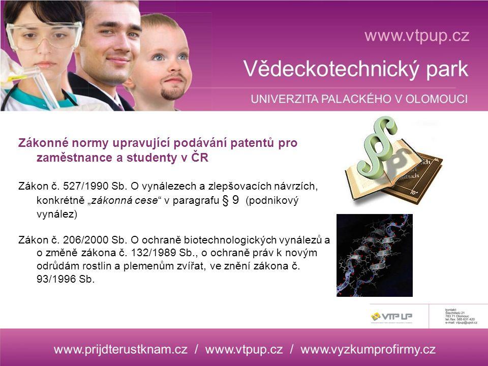 Zákonné normy upravující podávání patentů pro zaměstnance a studenty v ČR Zákon č.