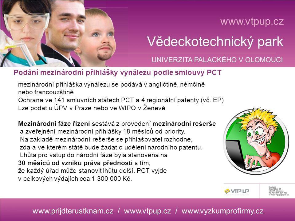 mezinárodní přihláška vynálezu se podává v angličtině, němčině nebo francouzštině Ochrana ve 141 smluvních státech PCT a 4 regionální patenty (vč.