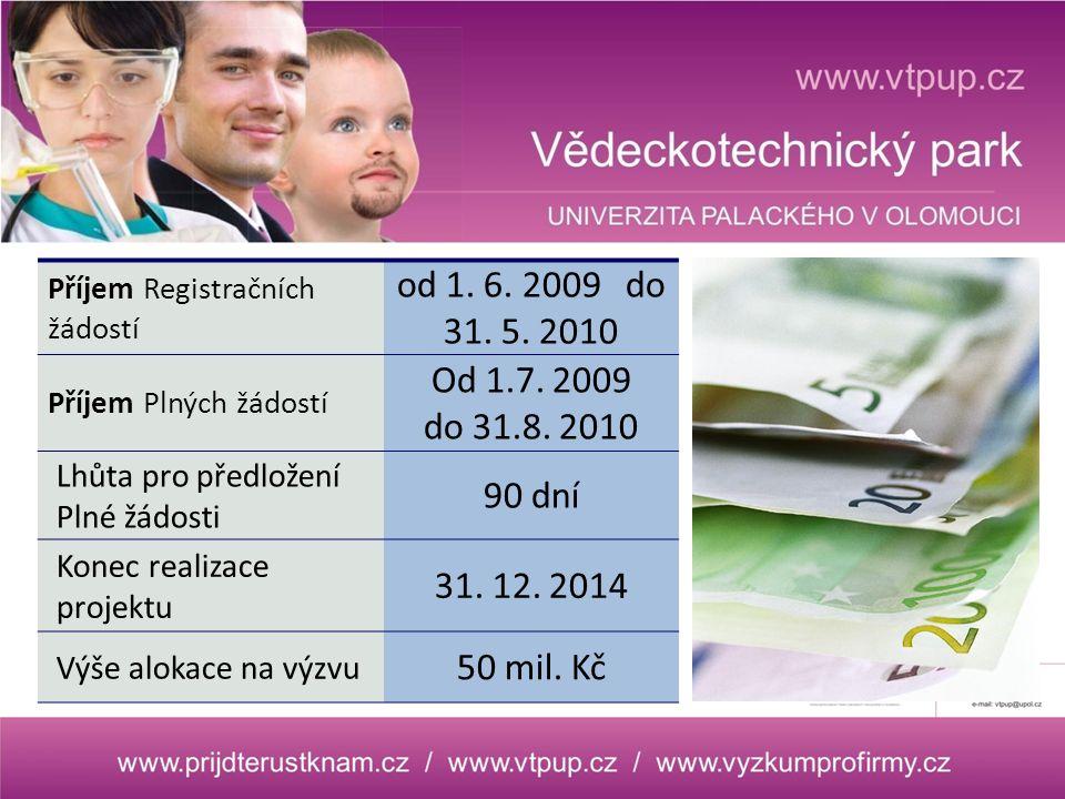 Příjem Registračních žádostí od 1.6. 2009 do 31. 5.
