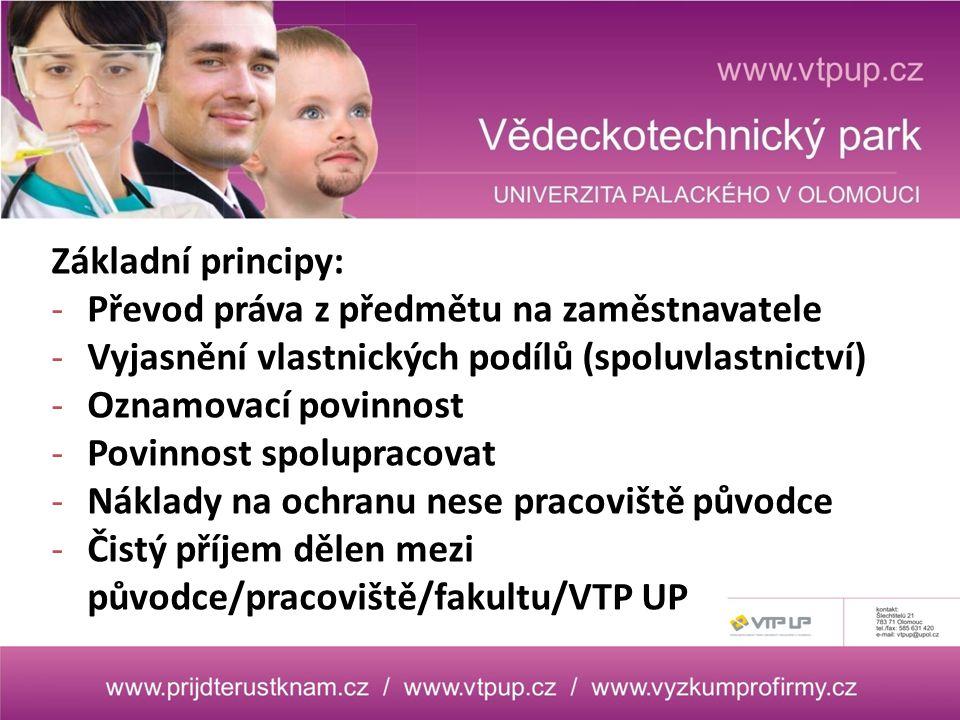 Základní principy: -Převod práva z předmětu na zaměstnavatele -Vyjasnění vlastnických podílů (spoluvlastnictví) -Oznamovací povinnost -Povinnost spolupracovat -Náklady na ochranu nese pracoviště původce -Čistý příjem dělen mezi původce/pracoviště/fakultu/VTP UP