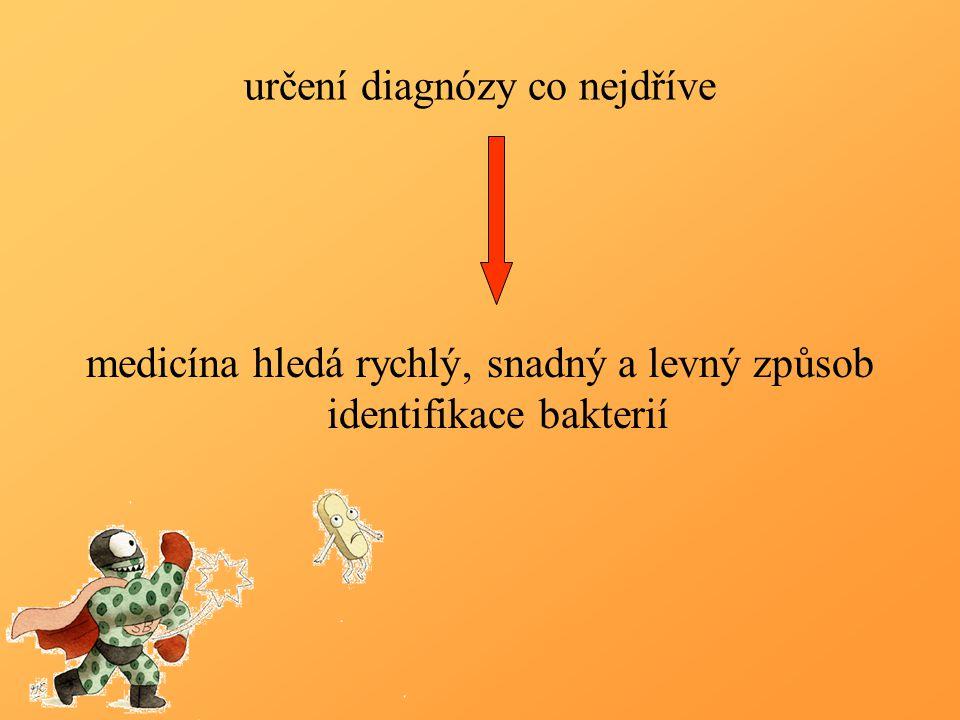 určení diagnózy co nejdříve medicína hledá rychlý, snadný a levný způsob identifikace bakterií