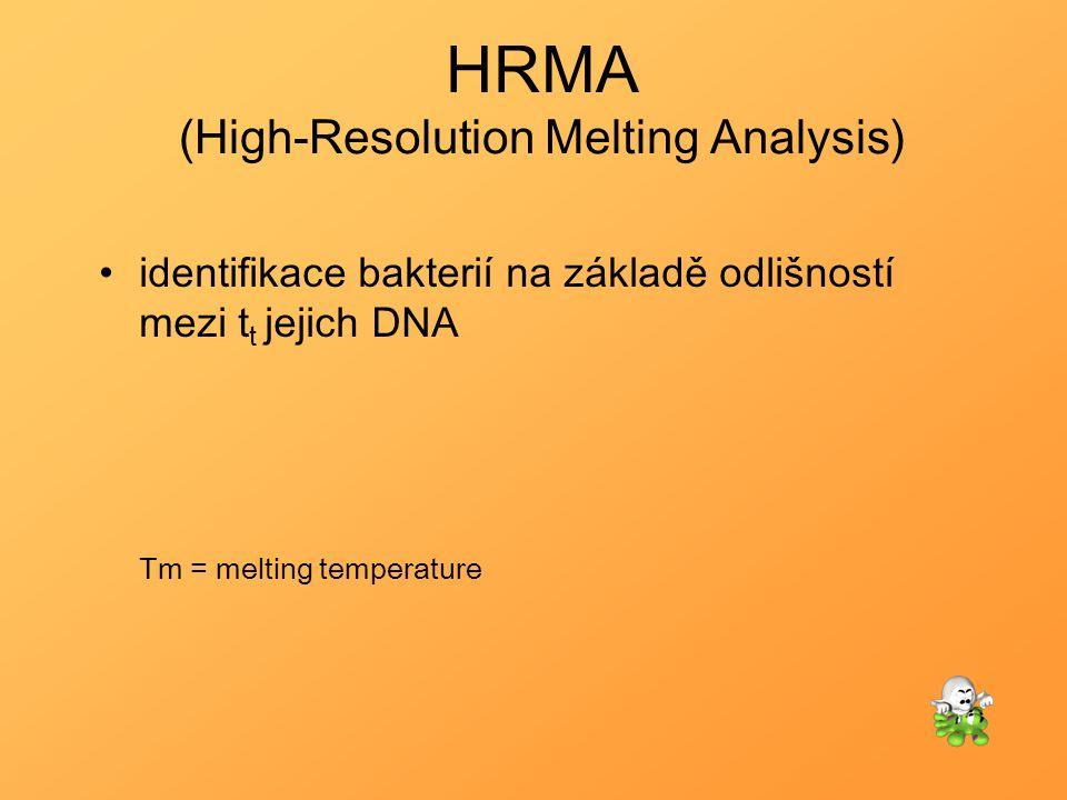HRMA (High-Resolution Melting Analysis) identifikace bakterií na základě odlišností mezi t t jejich DNA Tm = melting temperature