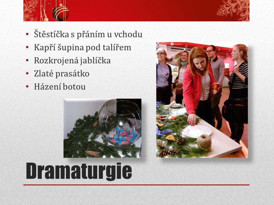 Dramaturgie Štěstíčka s přáním u vchodu Kapří šupina pod talířem Rozkrojená jablíčka Zlaté prasátko Házení botou