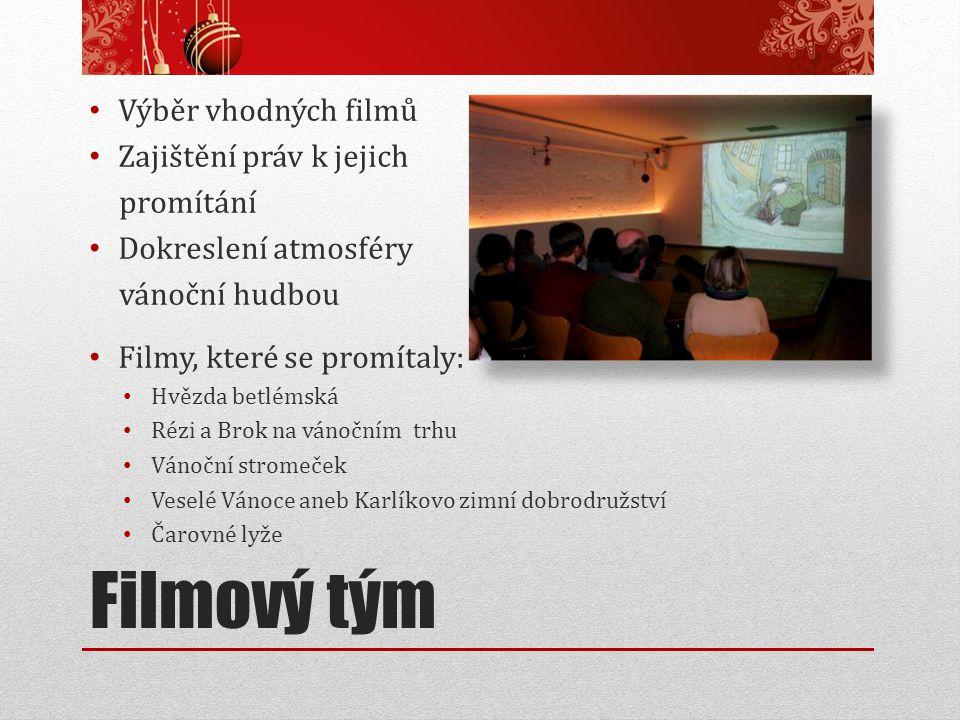 Filmový tým Výběr vhodných filmů Zajištění práv k jejich promítání Dokreslení atmosféry vánoční hudbou Filmy, které se promítaly: Hvězda betlémská Réz