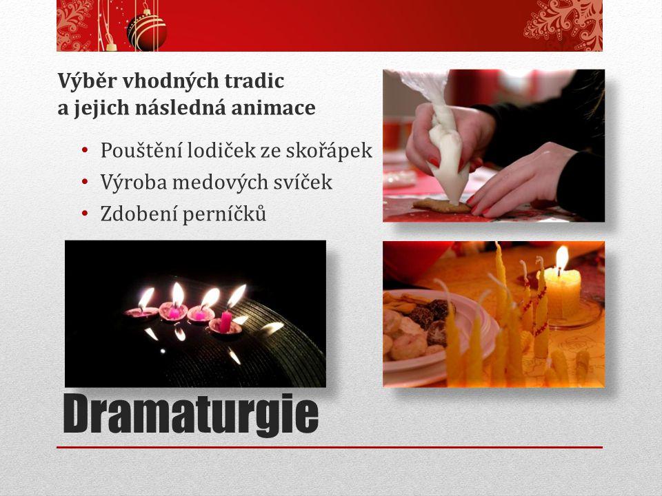 Dramaturgie Výběr vhodných tradic a jejich následná animace Pouštění lodiček ze skořápek Výroba medových svíček Zdobení perníčků