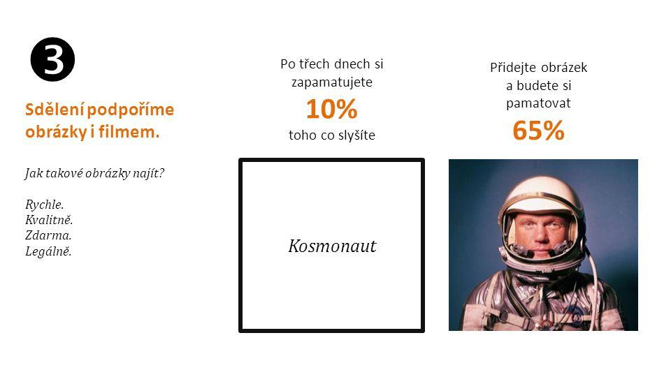 Kosmonaut Po třech dnech si zapamatujete 10% toho co slyšíte Přidejte obrázek a budete si pamatovat 65%  Sdělení podpoříme obrázky i filmem. Jak tako