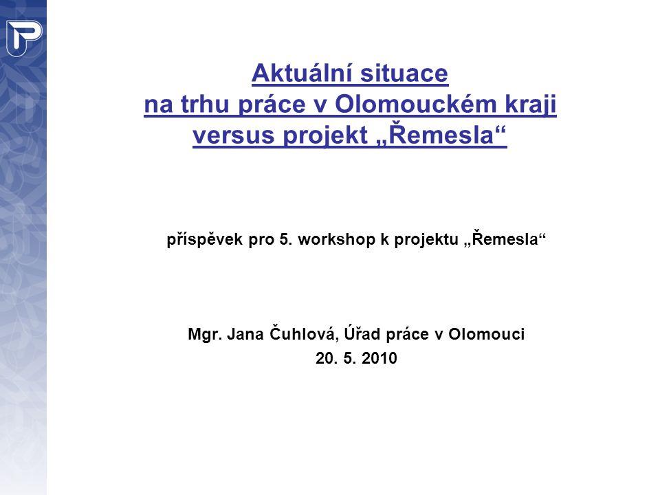 """Aktuální situace na trhu práce v Olomouckém kraji versus projekt """"Řemesla příspěvek pro 5."""