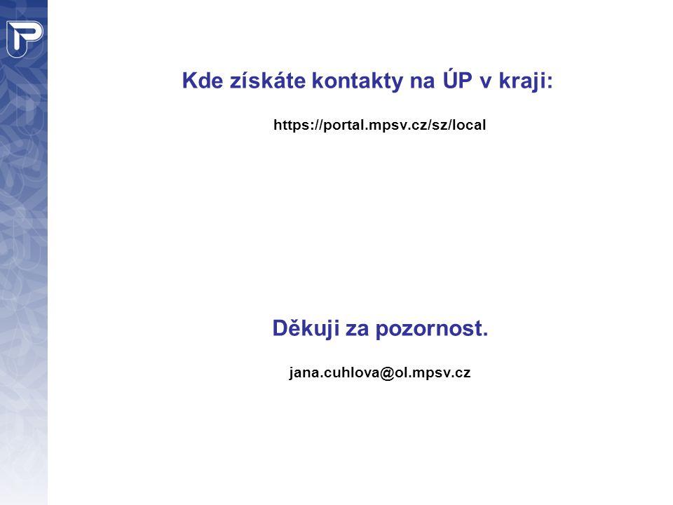 Kde získáte kontakty na ÚP v kraji: https://portal.mpsv.cz/sz/local Děkuji za pozornost.