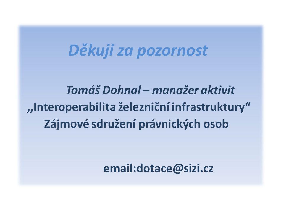 Děkuji za pozornost Tomáš Dohnal – manažer aktivit,,Interoperabilita železniční infrastruktury Zájmové sdružení právnických osob email:dotace@sizi.cz