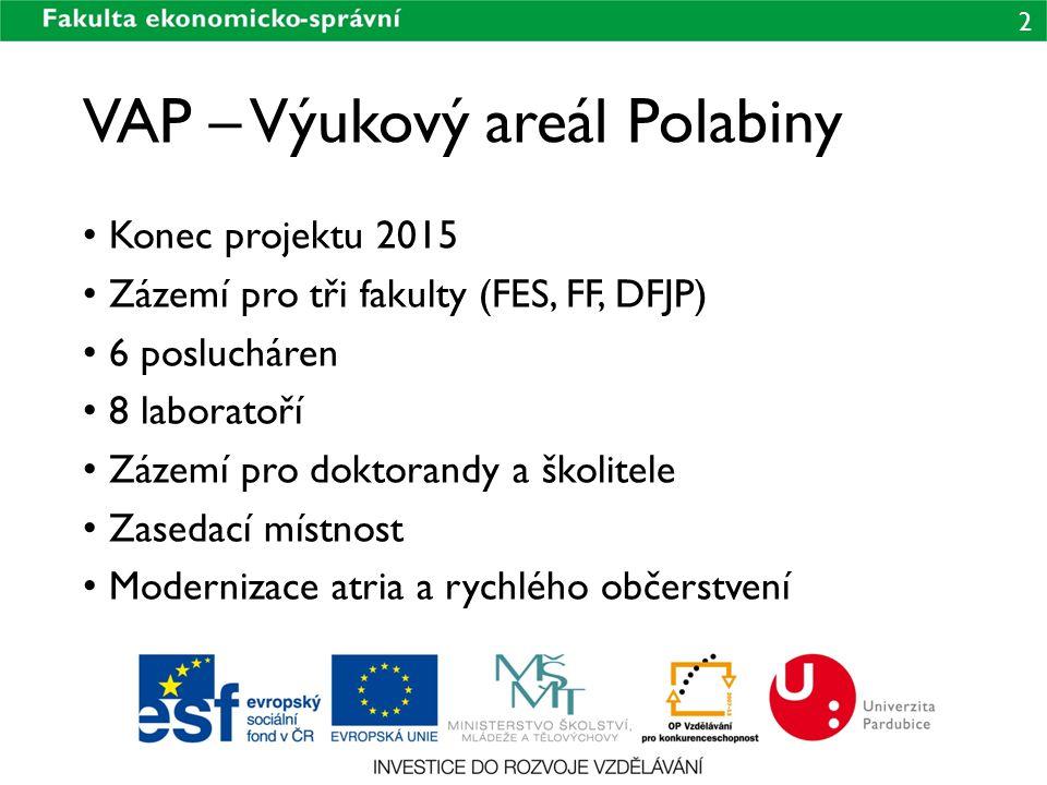 2 VAP – Výukový areál Polabiny Konec projektu 2015 Zázemí pro tři fakulty (FES, FF, DFJP) 6 poslucháren 8 laboratoří Zázemí pro doktorandy a školitele